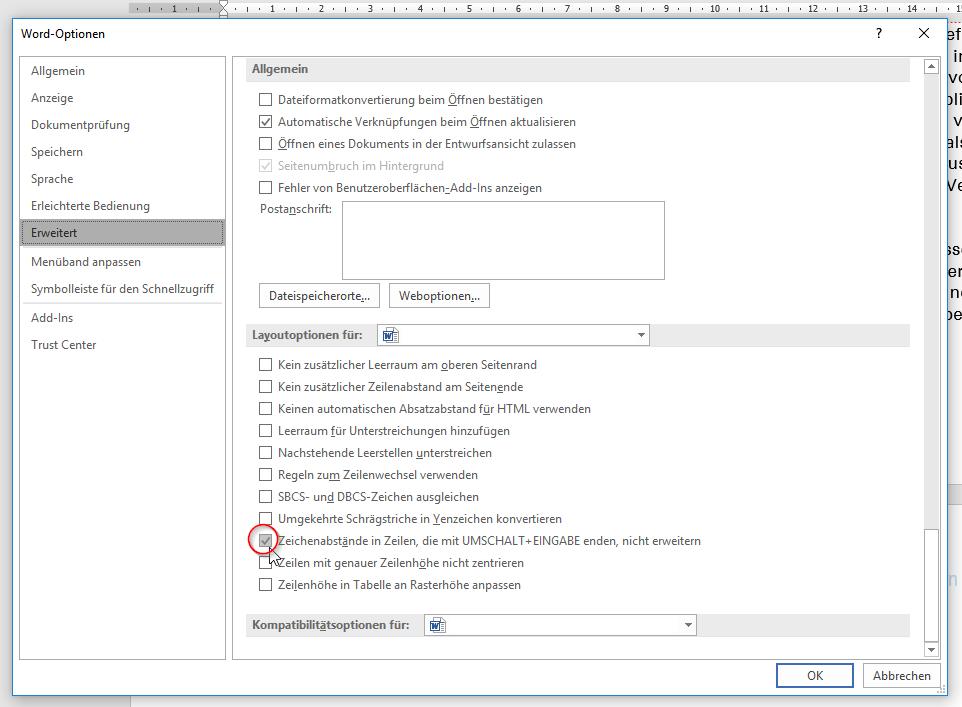 """Screenshot der Option """"Zeichenabstände in Zeilen, die mit UMSCHALT+EINGABE enden, nicht erweitern"""