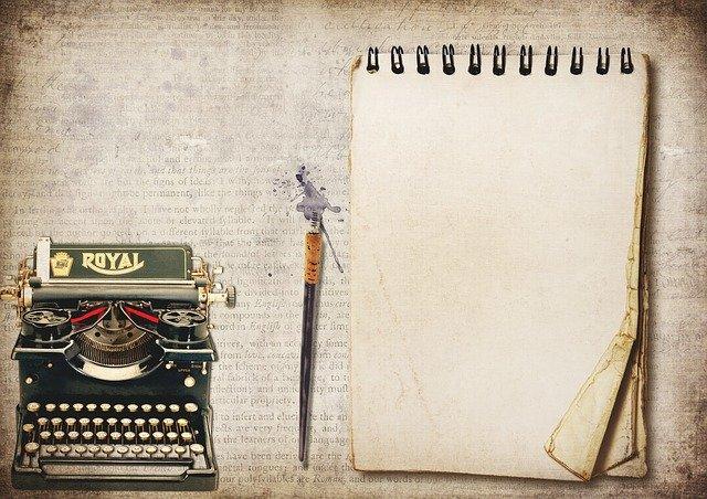 Schreibmaschine, Block, Feder